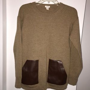 J Crew Sweater 100% Wool, Faux Leather